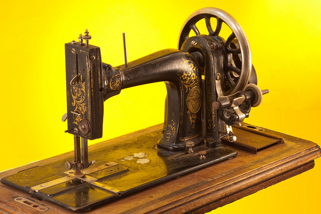 Antique hand-driven sewing machine