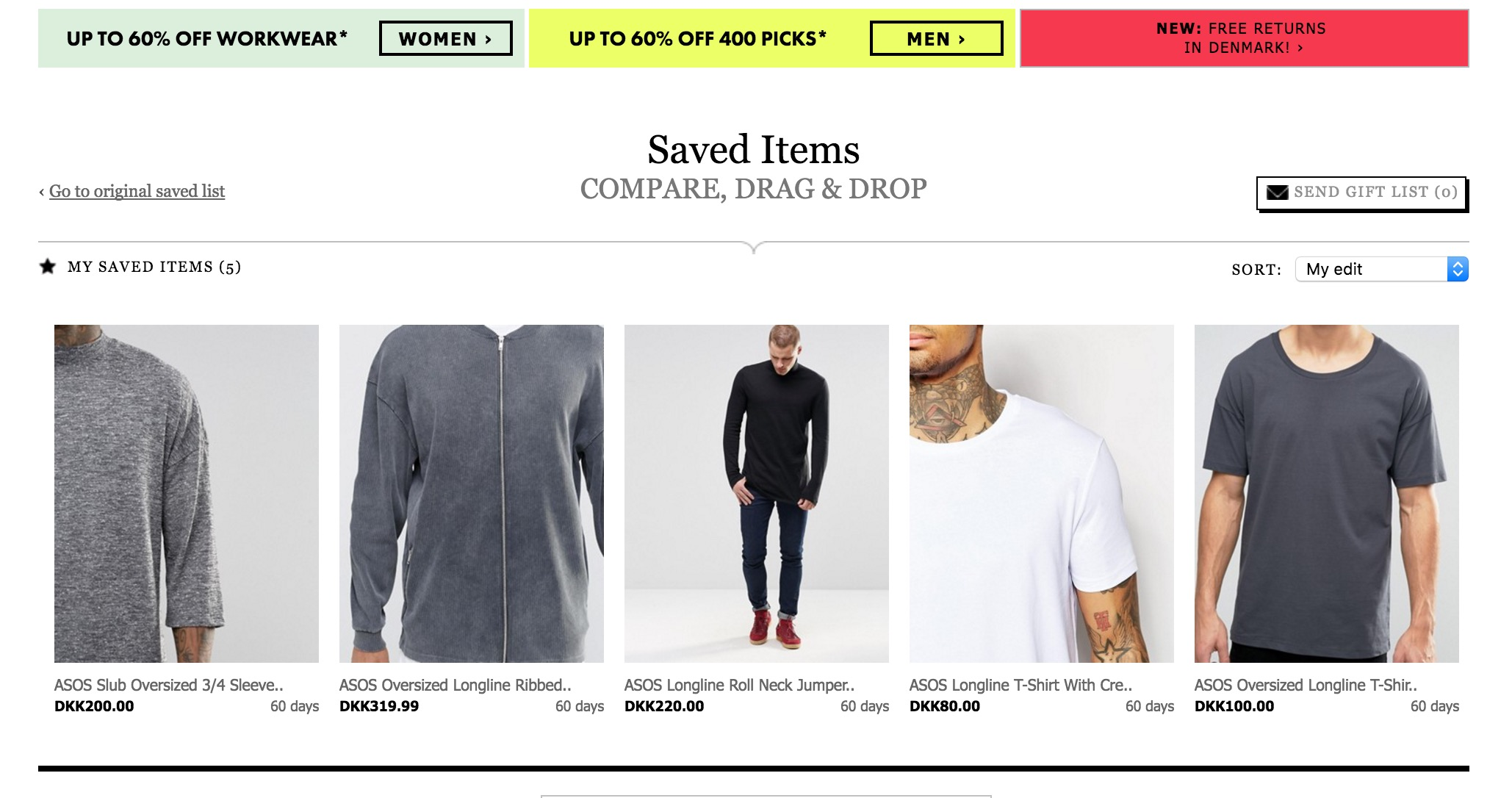 Asos Longline Saved Items Closer Look