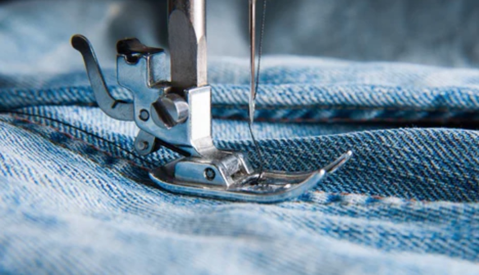 blue denim fabric sewing
